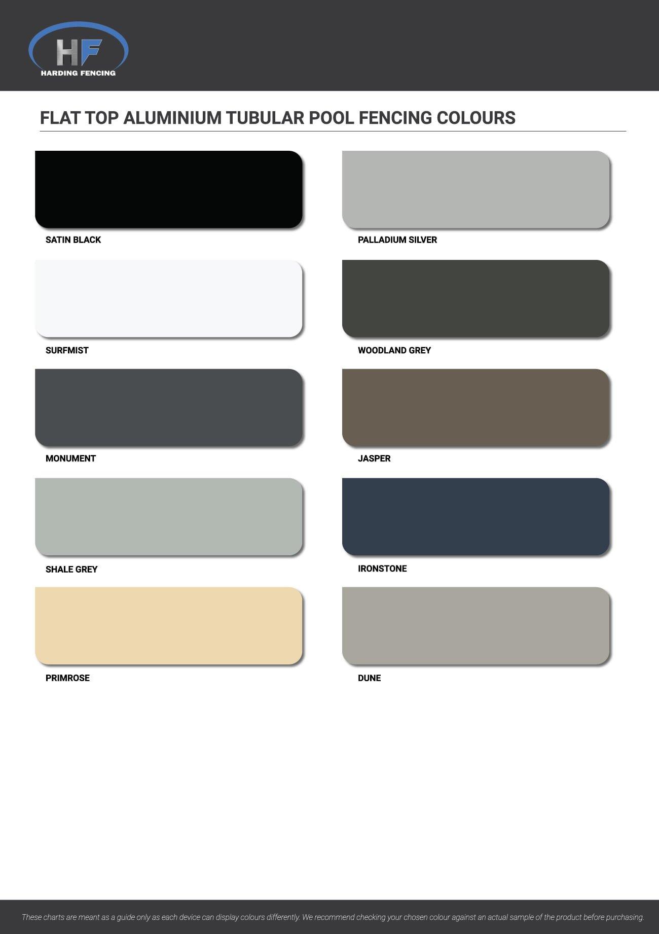 Flat Top Aluminium Pool Fencing colour chart
