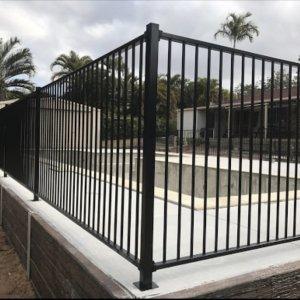Black Flat Top Aluminium Fencing