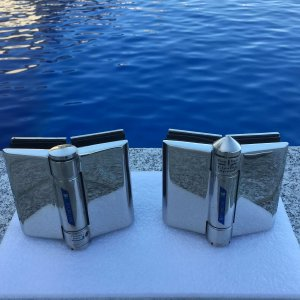 chrome gate hinges sitting beside pool